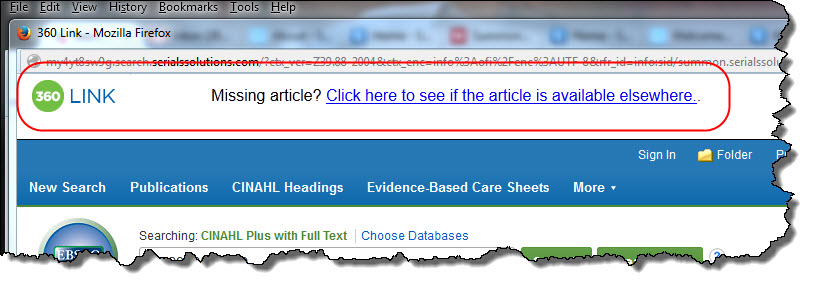 Missing article helper window with link to journal finder.
