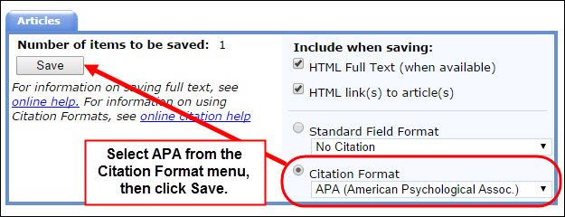 Getting Automatic Citations in Nursing Reference Center using the Save option.
