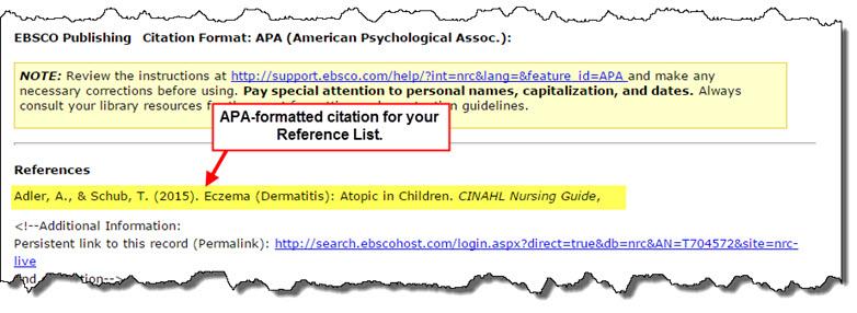 Citation in Nursing Reference Center save function