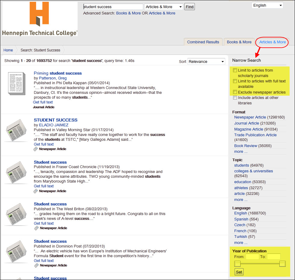 Refine Your Search options in Articles & More list.