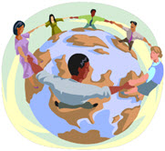 Clipart of People around a Globe