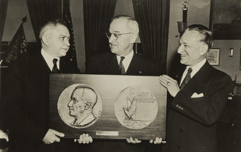 Julio Kilenyi with President Truman and William Hyman, January 17, 1949