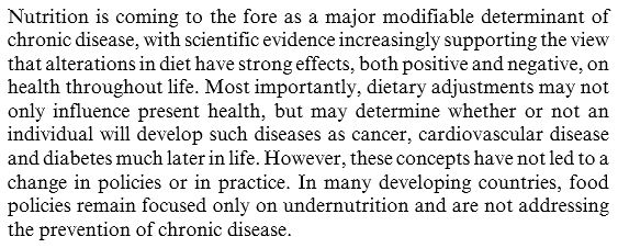Chronic Disease and Nutrition