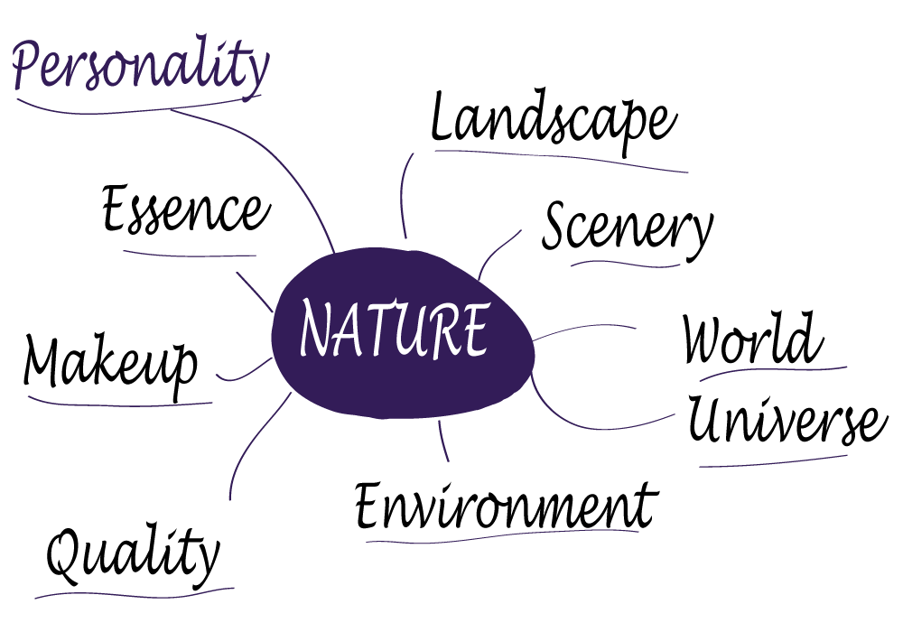 "A mind map showing synonyms and keywords for the word ""nature"" - personality, essence, makeup, quality, environment, landscape, scenery, world, universe."