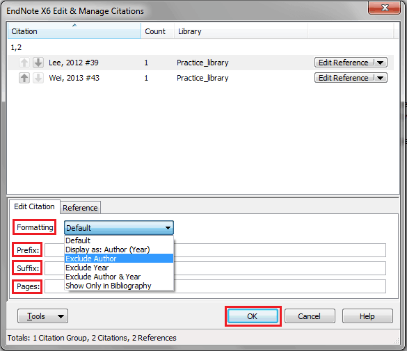 Edit & Manage Citations Dialog Box