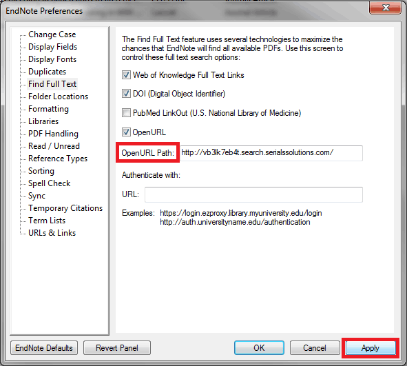 Find Full Text Preferences
