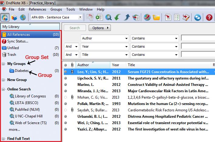 Groups Panel