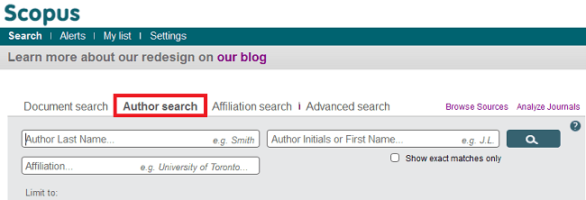 Scopus Author Search