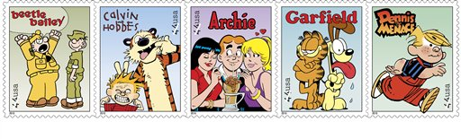 These undated handout images provided by the US Postal Service shows postage stamps featuring comic strips, from left, Beetle Bailey; Calvin and Hobbes; Archie; Garfield and Dennis the Menace, part of a set of five Sunday comics stamps going on sale nationwide with dedication ceremonies at the cartoon museum at Ohio State University, Friday, July 16. (AP Photo/USPS)