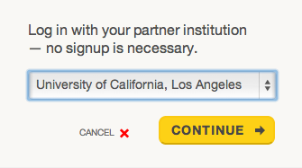 "Screenshot of Partner Institution drop-down options menu with ""University of California, Los Angeles"" displayed."