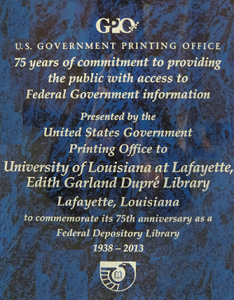 75th Anniversary, Depository Library, UL Lafayette