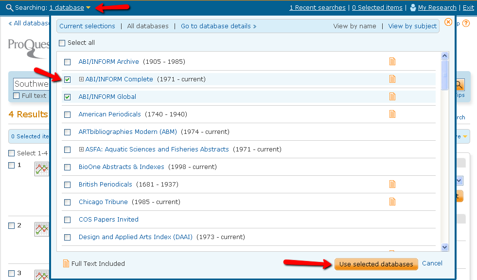 shows how to select databases