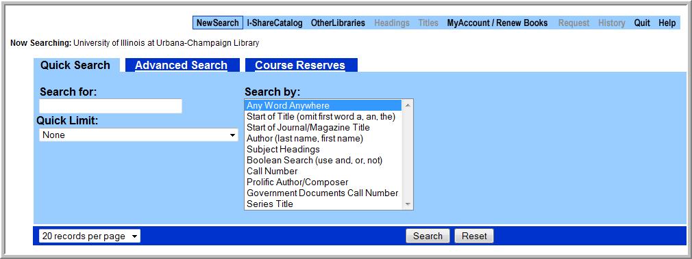 Classic Catalog search screen