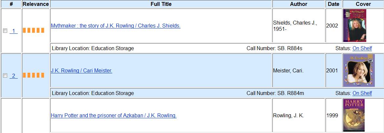 Classic Catalog results screen
