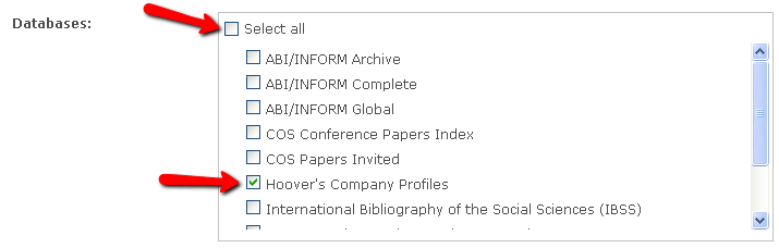 shows where to click Hoover's company profiles