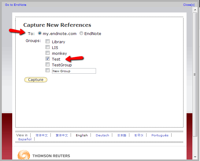 Capture to my.endnote.com