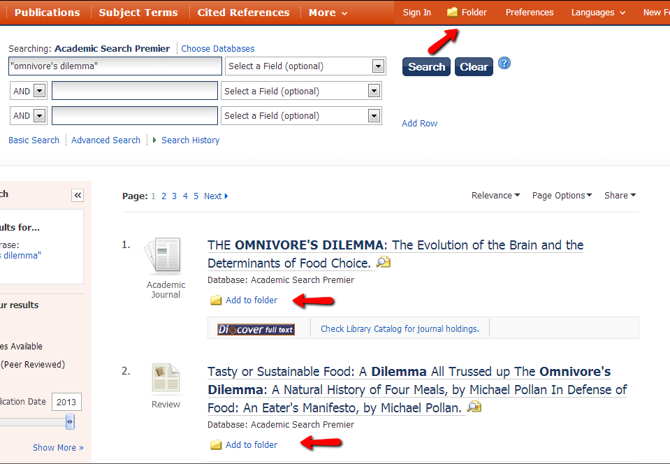 Adding articles to your folder in EBSCO