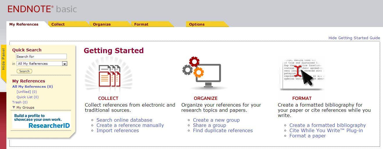 EndNote Web Homepage