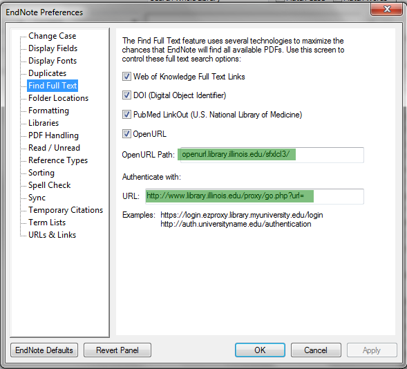 EndNote Full Text Preferences