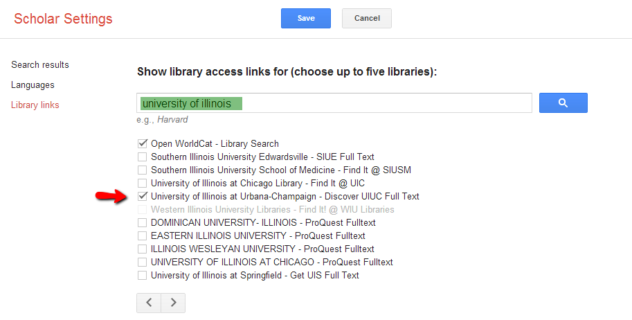 GoogleScholar settings
