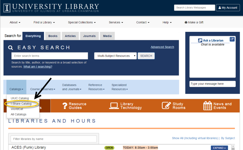 The library gateway with the I-Share catalog highlighted under the catalogs drop-down menu