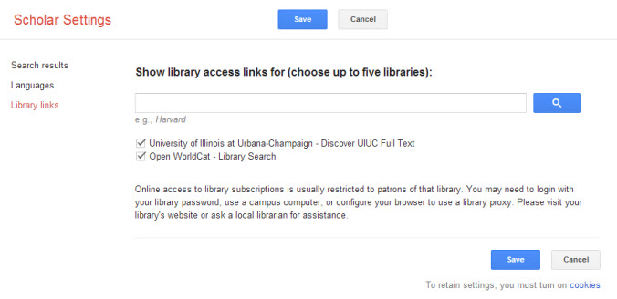 change settings, link with library databases