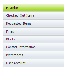 "Library account, highlighting ""Favorites"""