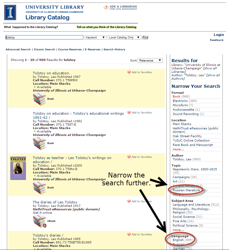 "Catalog search results for ""Tolstoy"""