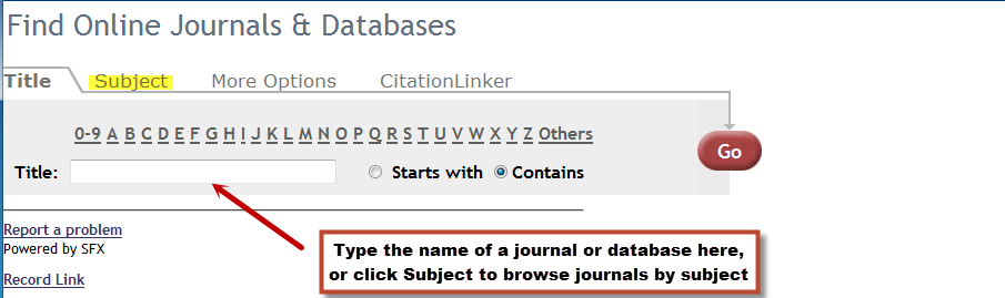Online Journals & Databases search page