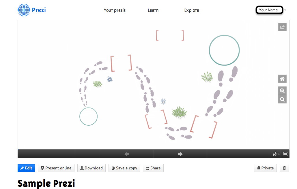 homepage of prezi presentation.