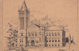 Drawing of Building on University of Illinois--Urbana-Champaign Campus