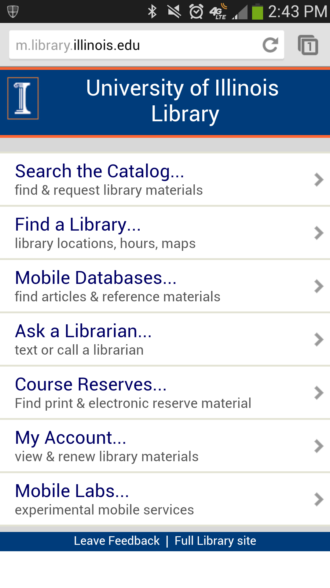 Library's mobile version homepage