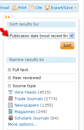 """how to select """"publication data: most recent first"""""""