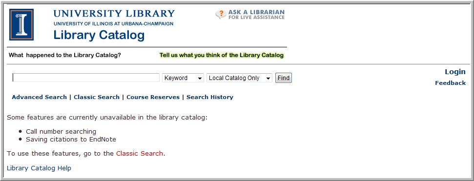 VU Find search screen