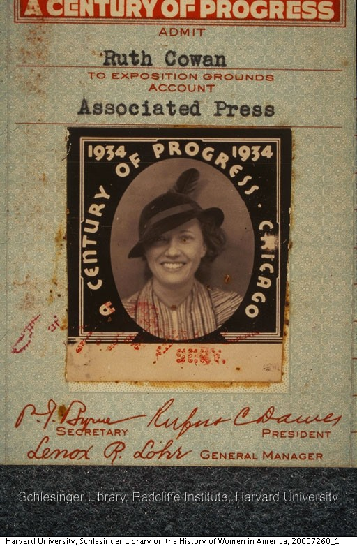 Ruth Cowan Nash's press pass for the Chicago's World Fair, 1934.