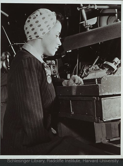 Unidentified handicapped woman seated at a factory work station. From Women's Bureau PC 10