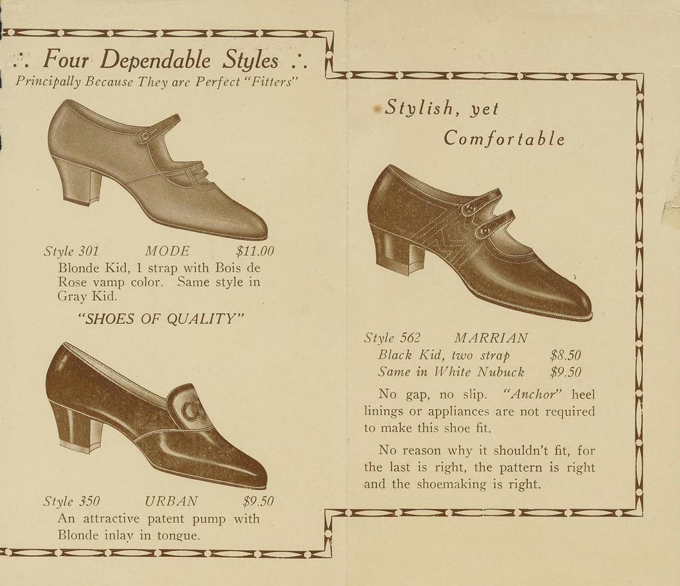Advertisement for comfortable shoes. Charlotte Perkins Gilman Papers
