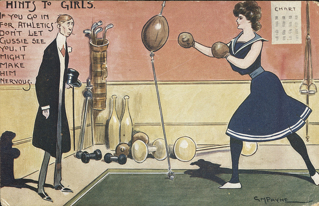 Image of a woman boxing. Sally Fox Collection.