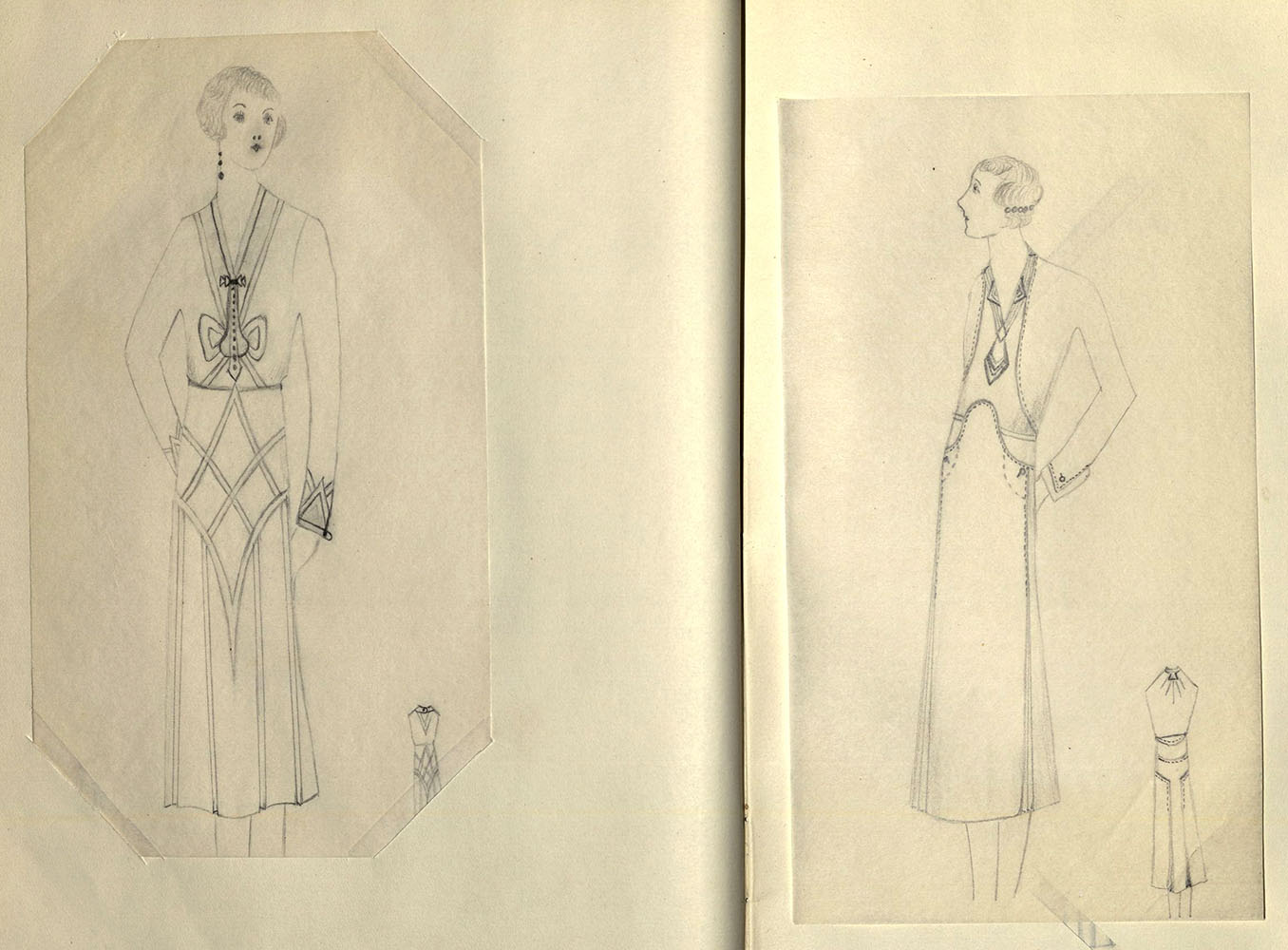 Sketch book of Theresa Balog, designer and dressmaker.