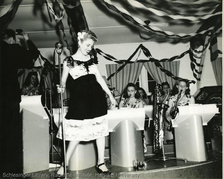All female band and singer performing, ca. 1945.