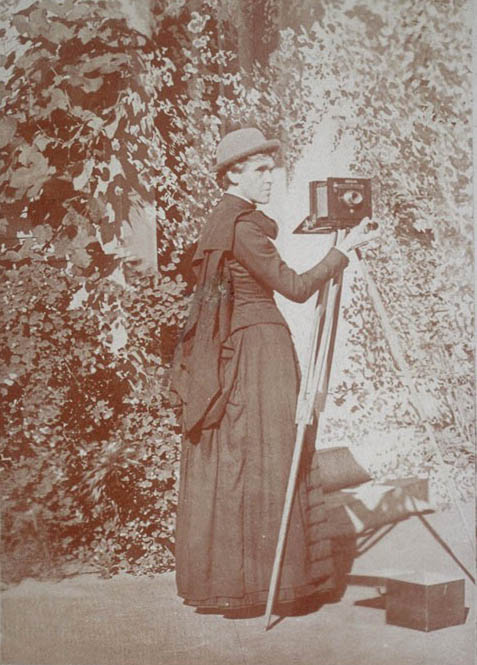 E. Jane Gay with her camera, ca. 1889-1897. Jane Gay Dodge Papers.