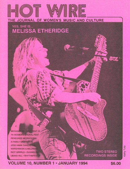 Cover of Hot Wire magazine with Melissa Etheridge on the cover