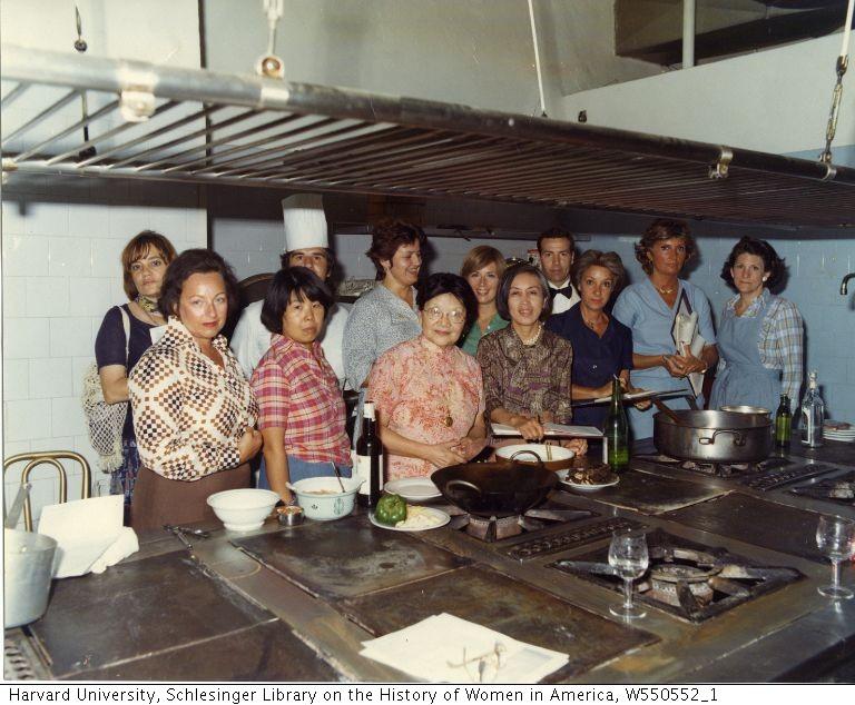 Grace Zia Chu with a cooking class, 1977.