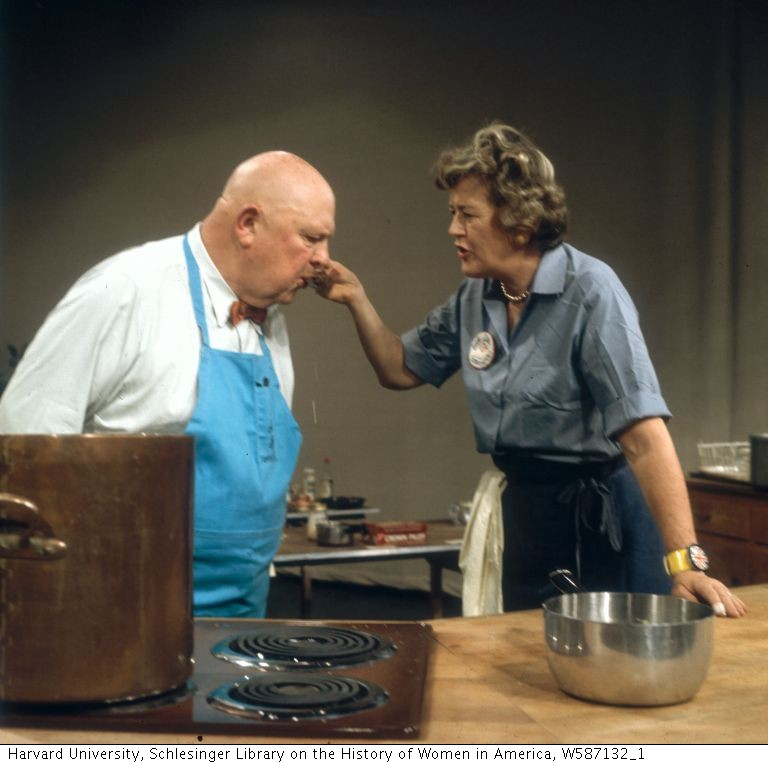 Julia Child and James Beard at WGBH's fish program. Photo by Paul Child.