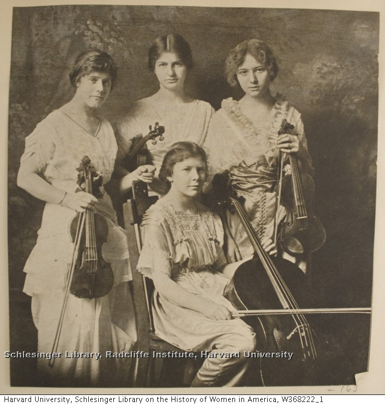 Portrait of four unidentified female violin students. ca. 1898.
