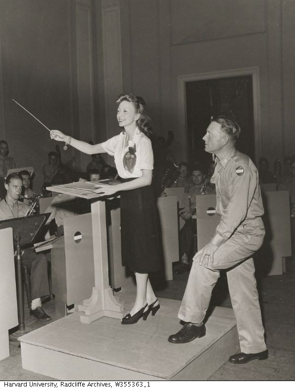 Ann Ronell conducts rehearsal for the U.S. Military Band, ca. 1945.