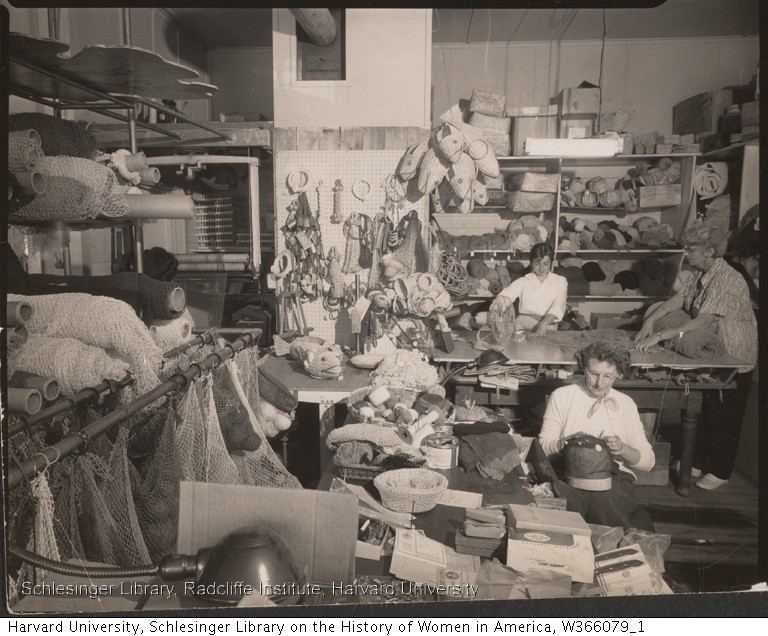 The workroom of Cape Cod Fishnet Industries, 1950. Ada Worthington Papers