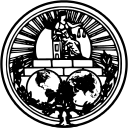 the seal of the international court of justice: a black and white circular medalion with Justice seated over a dual globe map projection.