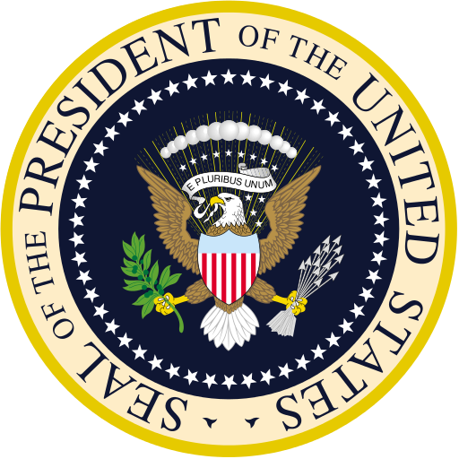 Seal of the President: blue and yellow with a bald eagle in the center