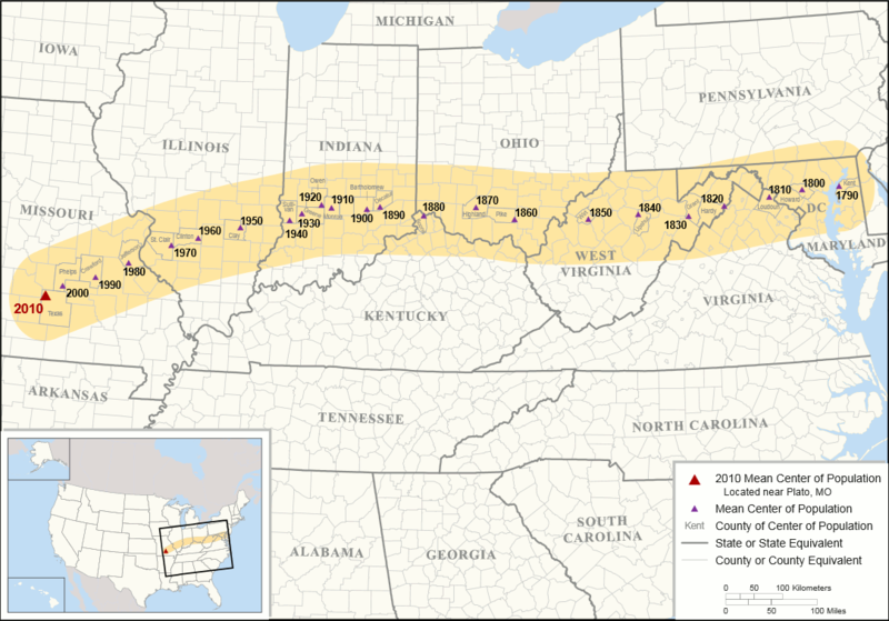 mean U.S. population center 1790-2010